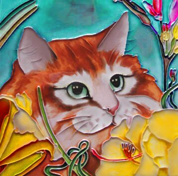 Orange Cat with Yellow Flowers Tile Wall Decor by Continental Art Center
