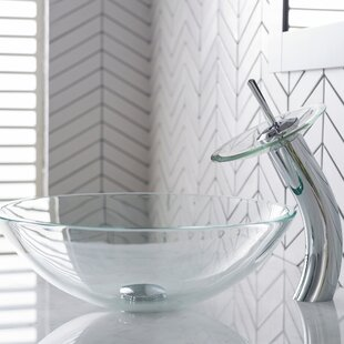 Affordable Price Crystal Glass Circular Vessel Bathroom Sink with Faucet By Kraus