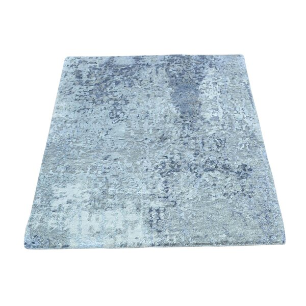 One-of-a-Kind Abstract Hi and Low Hand-Knotted Silver/Blue Area Rug by Williston Forge