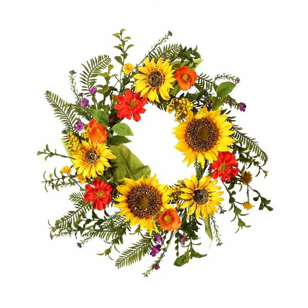 Sunflower and Poppy 18 Wreath by August Grove