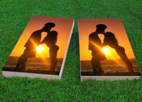 Romantic Sunset by the Sea Cornhole Game (Set of 2) by Custom Cornhole Boards