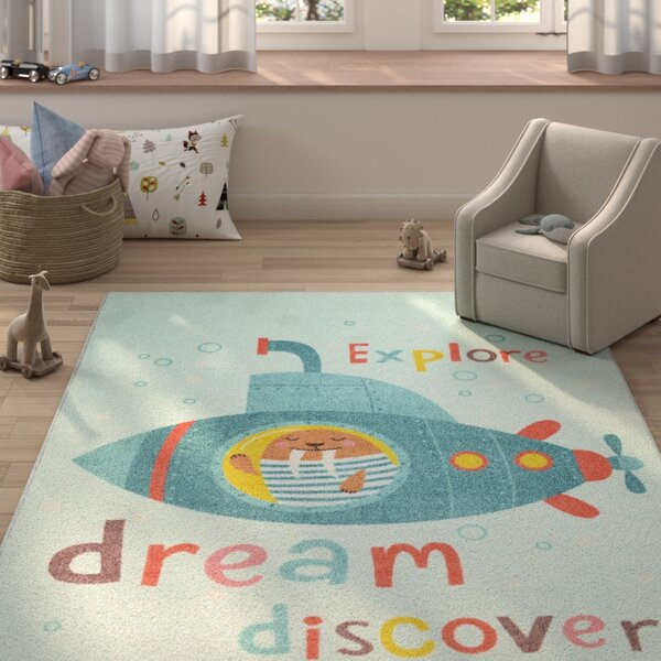 Engler Submarine Dream Blue/Red Area Rug by Zoomie Kids