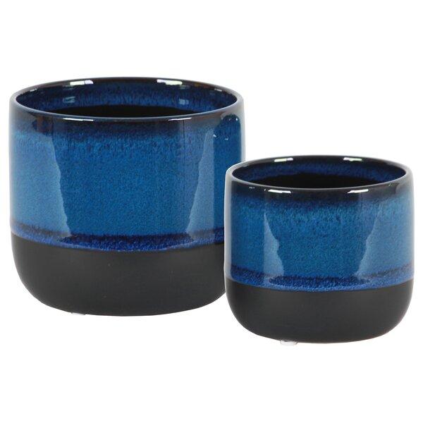 Treasa Round 2-Piece Stoneware Pot Planter Set by World Menagerie