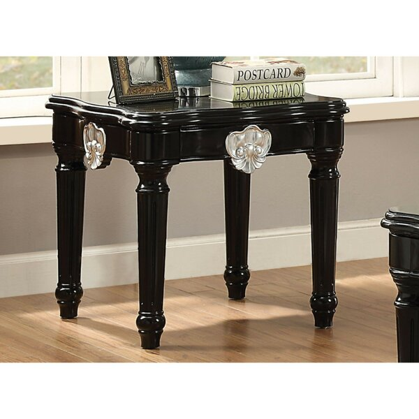 Swinton Wooden Contrast Carved Motif Turned Legs End Table by Astoria Grand Astoria Grand