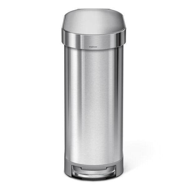 45 Liter Slim Step Stainless Steel Trash Can with Liner Rim Rose by simplehuman