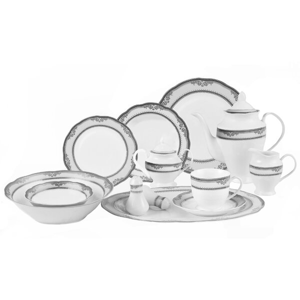 Victoria 57 Piece Dinnerware Set, Service for 8 by Lorren Home Trends