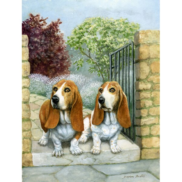 Basset Hounds in the Gate 2-Sided Garden Flag by Caroline's Treasures