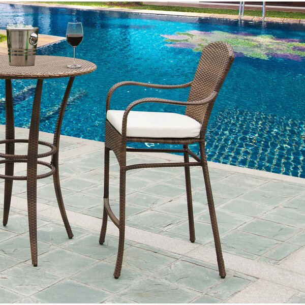 Key Biscayne 29.5 Patio Bar Stool with Cushion by Panama Jack Outdoor
