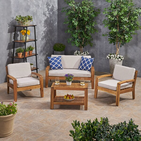 Hogansville Acacia Wood 4 Piece Sunbrella Sofa Seating Group with Sunbrella Cushions by Rosecliff Heights