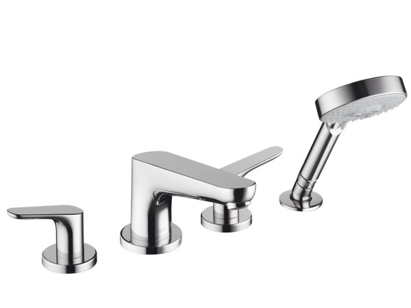 Focus Double Handle Deck Mount Roman Tub Set Trim with Handshower by Hansgrohe