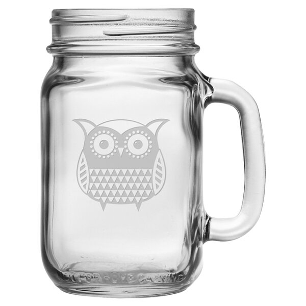 Folk Art Owl 16 oz. Drinking Jar (Set of 4) by Susquehanna Glass