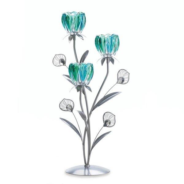 Triple Peacock Bloom Iron, Glass and Plastic Candelabra by Zingz & Thingz