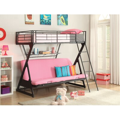 Bourgault Metal Twin Over Full Futon Bunk Bed With Bookcase Harriet Bee