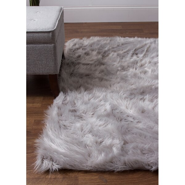 Charlotte Hand-Woven Faux Sheepskin Gray Area Rug by House of Hampton