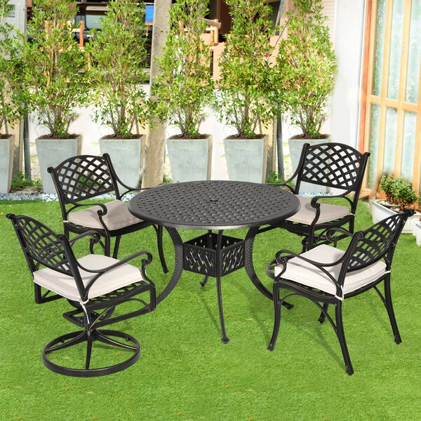 Greenlee 5 Piece Dining Set with Cushions by Fleur De Lis Living