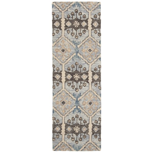 Posada Hand-Tufted Wool Light Blue/Cream Area Rug by World Menagerie