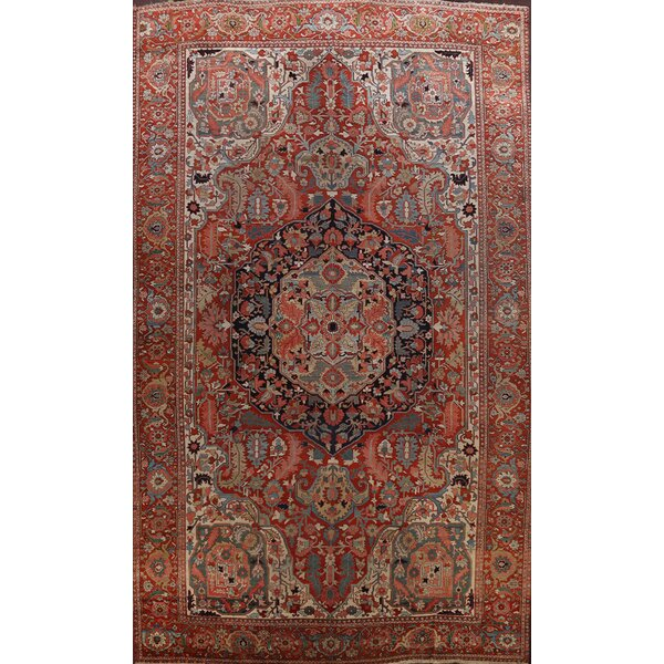 One-of-a-Kind Hand-Knotted 1910s Heriz Serapi Rust 12'5 x 18'8 Wool Area Rug