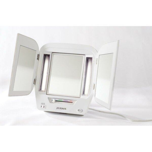 Euro Tabletop Dual Sided Tri Fold Lighted Makeup Mirror with Built-In Outlet by Jerdon