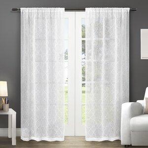Britain Geometric Sheer Rod Pocket Curtain Panels (Set of 2)