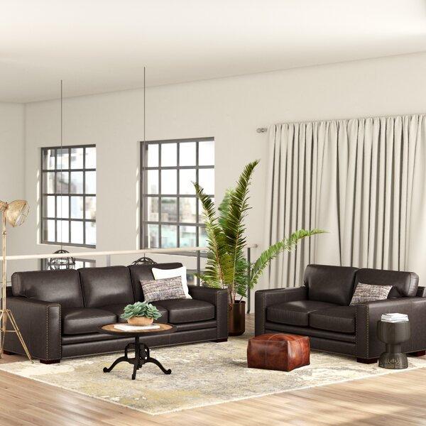 Neil Solid Leather 2 Piece Living Room Set by Trent Austin Design