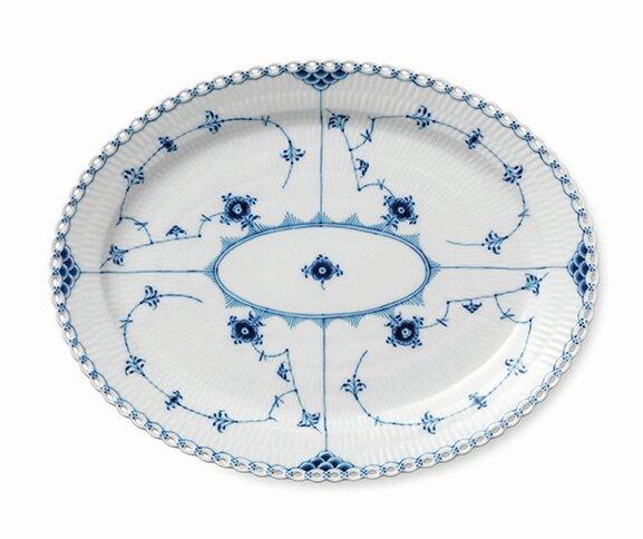 Blue Fluted Full Lace Oval Platter by Royal Copenhagen
