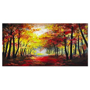 Walk Through Autumn Forest Landscape Painting Print on Wrapped Canvas by Design Art