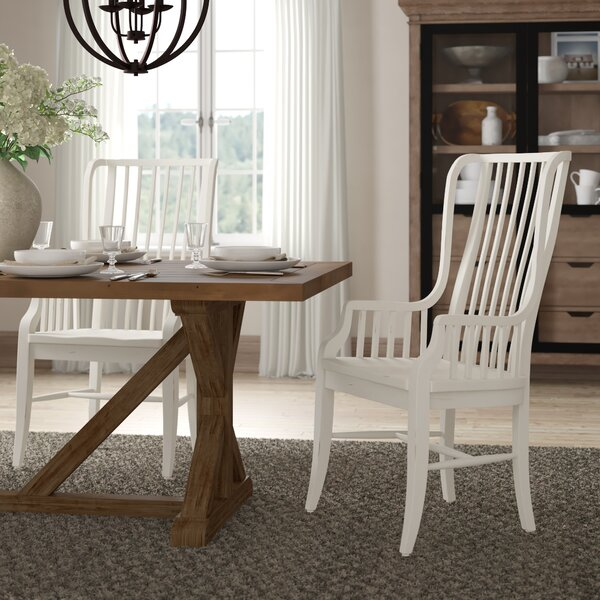 Miner Solid Wood Dining Chair with Arms (Set of 2) by August Grove