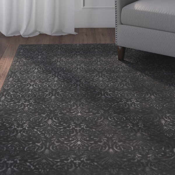 Boone Damask Black Area Rug by Charlton Home
