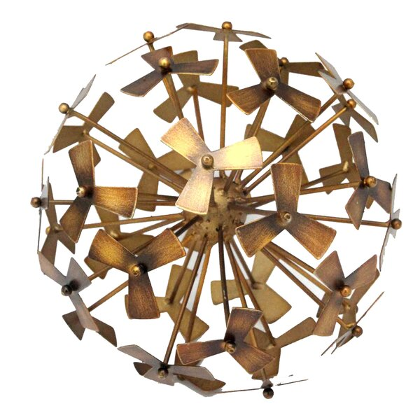 Decorative Gold Metal Pinwheel Orb by Donny Osmond Home