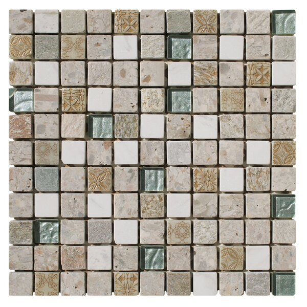 Natural Splendor 1 x 1 Glass and Natural Stone Mosaic Tile in Unpolished Tan, white and gold by Intrend Tile