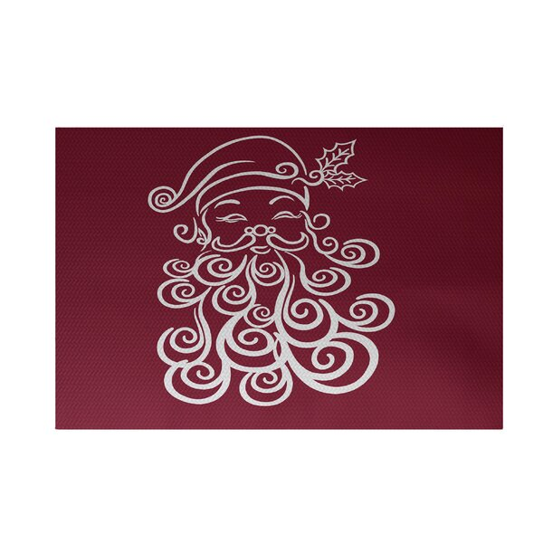 Santa Baby Decorative Holiday Print Cranberry Burgundy Indoor/Outdoor Area Rug by The Holiday Aisle