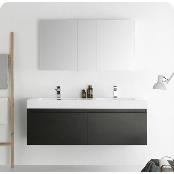 Senza 60 Mezzo Double Wall Mounted Modern Bathroom Vanity Set with Mirror by Fresca
