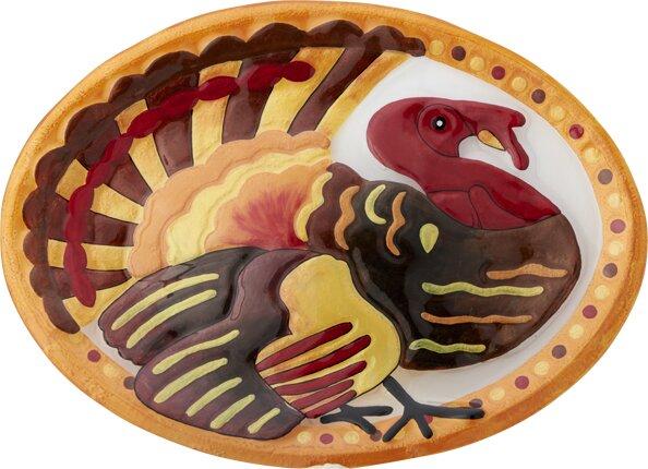 Turkey Oval Platter by LS Arts, Inc.