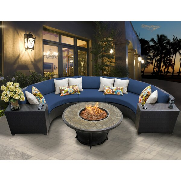 Medley 6 Piece Rattan Sectional Seating Group with Cushions by Rosecliff Heights