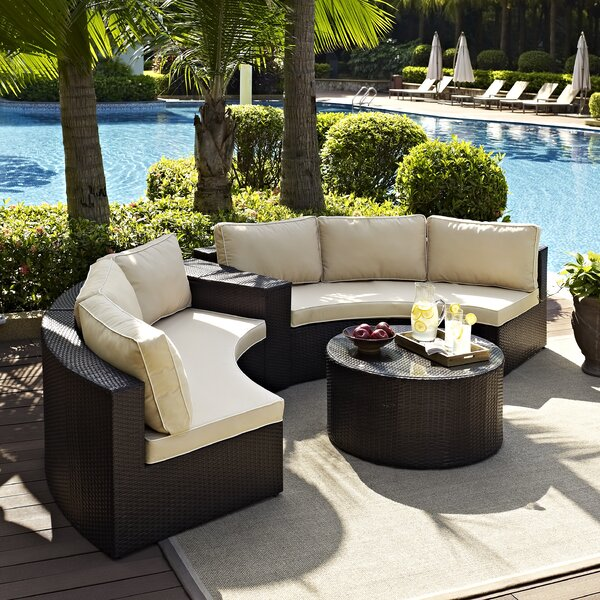 Michal 4 Piece Rattan Sectional Seating Group with Cushions by Highland Dunes