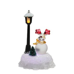 led changing reindeer with lamp post christmas decoration