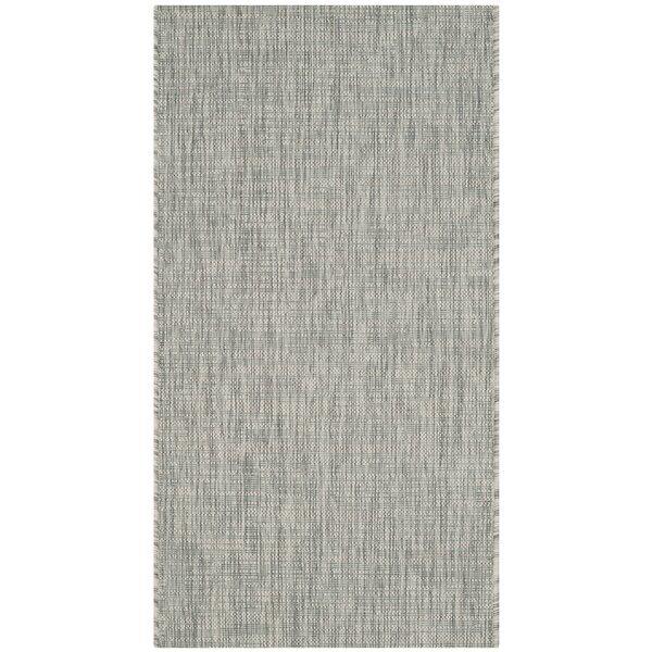 Adelia Gray/Turquoise Indoor/Outdoor Area Rug by Three Posts