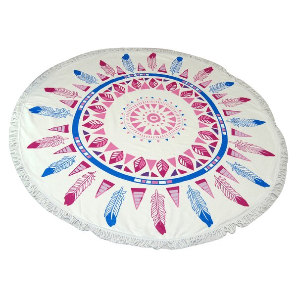 West Side Feather Round Beach Towel by Bungalow Rose