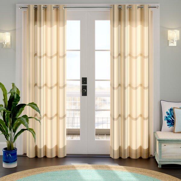 Ponce de Leon Striped Room Darkening Grommet Single Curtain Panel by Beachcrest Home