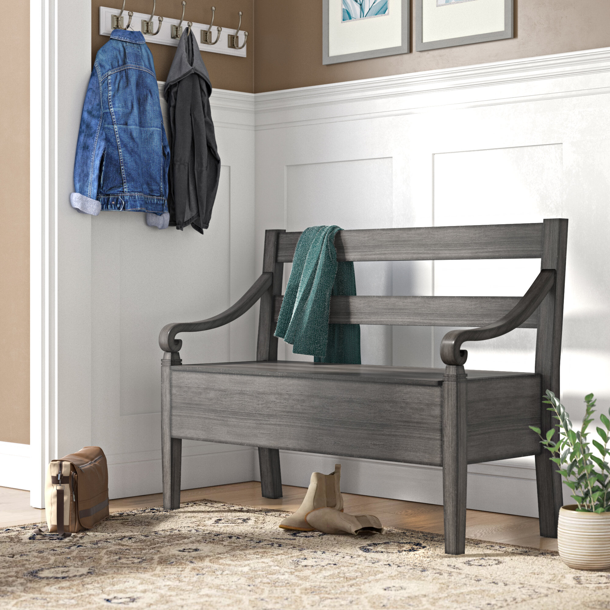 Peachy Rogowski Wood Storage Bench Creativecarmelina Interior Chair Design Creativecarmelinacom