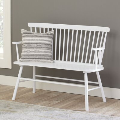 Spindle Solid Wood Bench Laurel Foundry Modern Farmhouse Color: White