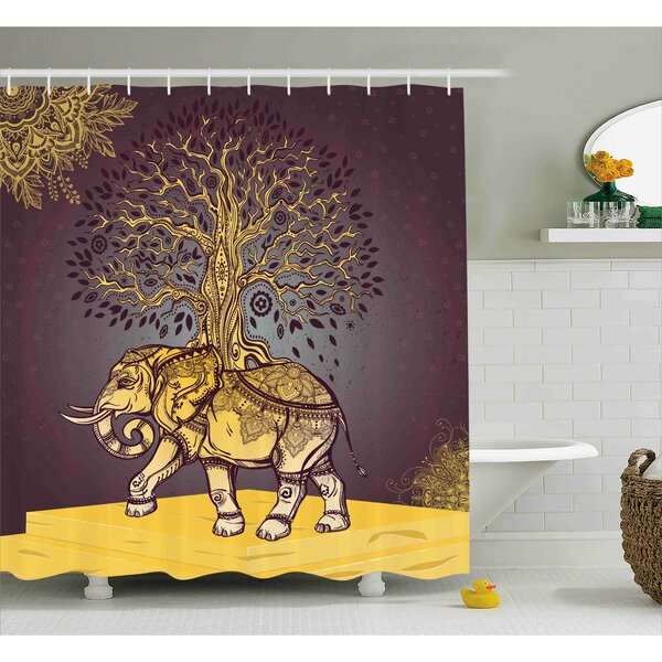 Azariah Asian Elephant in Nature Shower Curtain by Bloomsbury Market