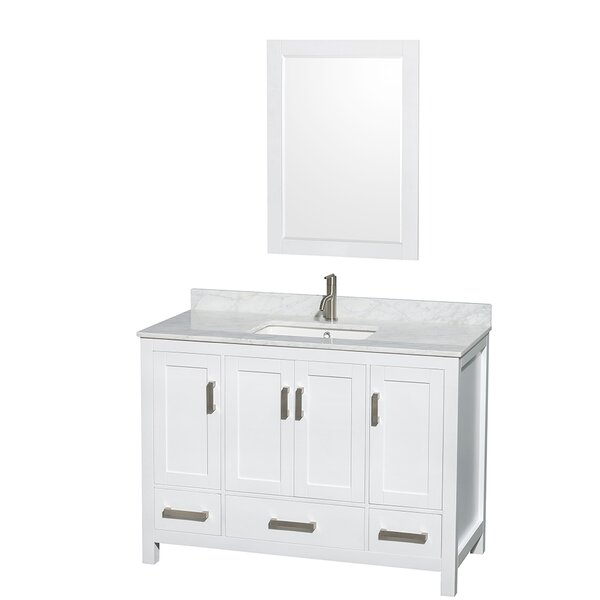 Sheffield 48 Single White Bathroom Vanity Set with Mirror by Wyndham Collection
