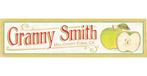 Personalized Granny Smith Graphic Art on Wood by Artehouse LLC
