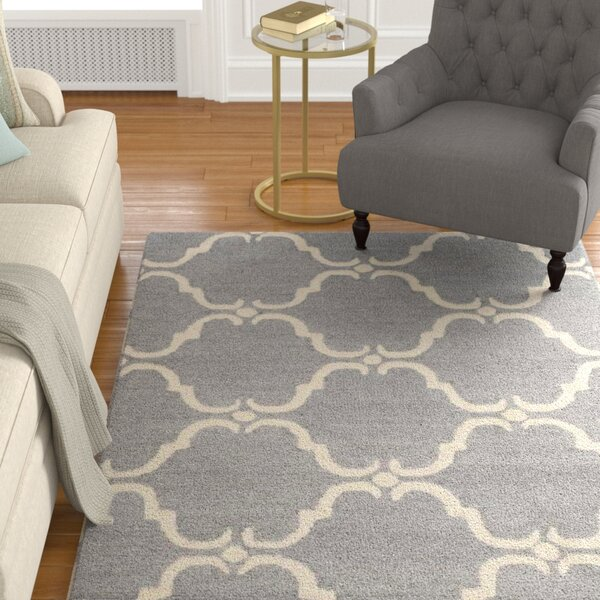 Cambridge Tufted Wool Dark Gray/Ivory Area Rug by Darby Home Co
