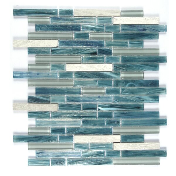 Ice Honey Berries Random Sized Glass Mosaic Tile in Blue/White by Abolos