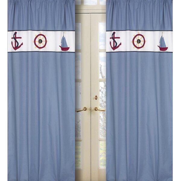 Come Sail Away Nautical Semi-Sheer Rod Pocket Curtain Panels (Set of 2) by Sweet Jojo Designs