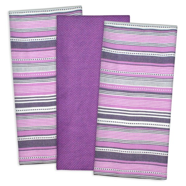 3 Piece Urban Stripe Cotton Dishtowel Set by Mint Pantry