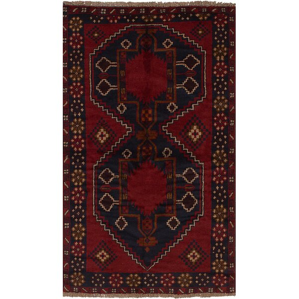 One-of-a-Kind Divine Hand-Knotted Wool Red/Blue Area Rug by Isabelline