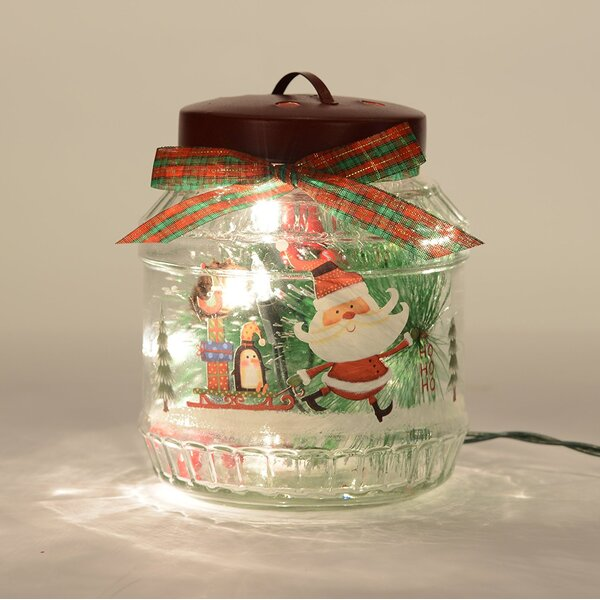 Santa Glass Bottle Light Lamp by Glitzhome